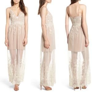 Embroidered mesh maxi dress NWT